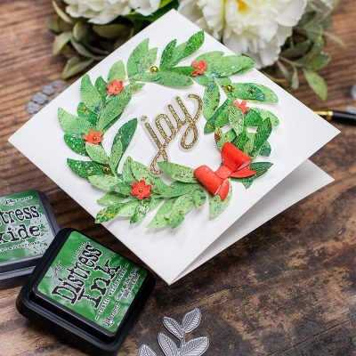 3 Die-cut Wreaths Ideas Rustic Wilderness Distress Ink and Laurel Leaves by Simon Says Stamp