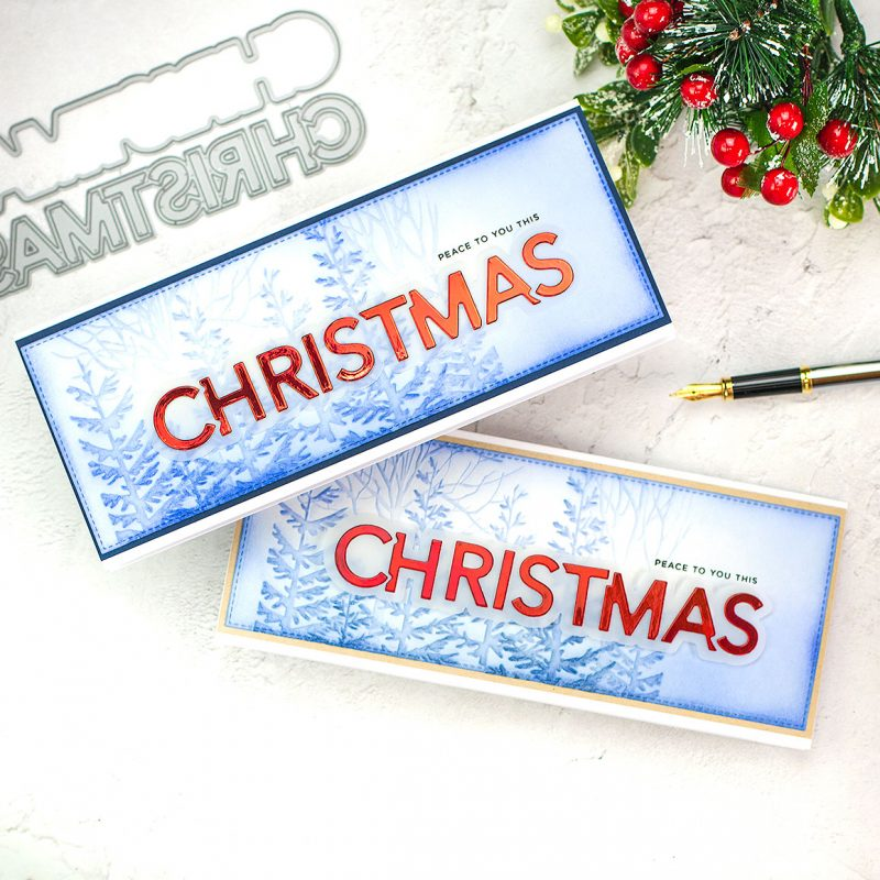 Slimline Christmas Cards + 3D Forest Border Embossing Folder