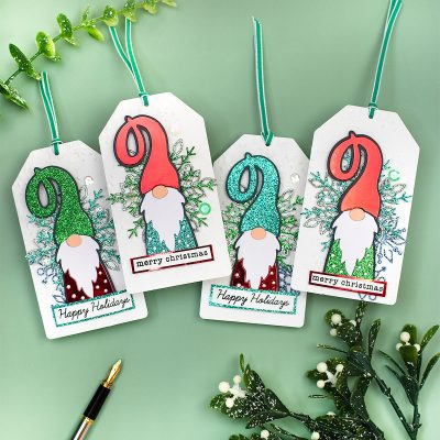 Gnomes and Snowflakes Sparkling Christmas Tags