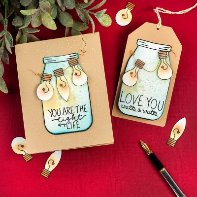 Easy San Valentine's Day Card  and Tag with Light Me Up By Simon Says Stamps