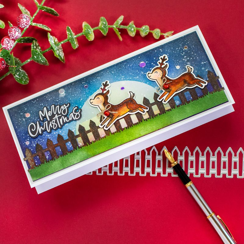 Slimline Reindeer Xmas Scene With Woodland Winter Animals by Honey Bee Stamps