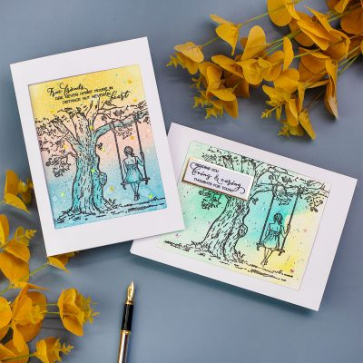 Rectangular Fun Fold  Pop- Up Cards  +  Reflection Tree Stamp Set by Colorado Craft
