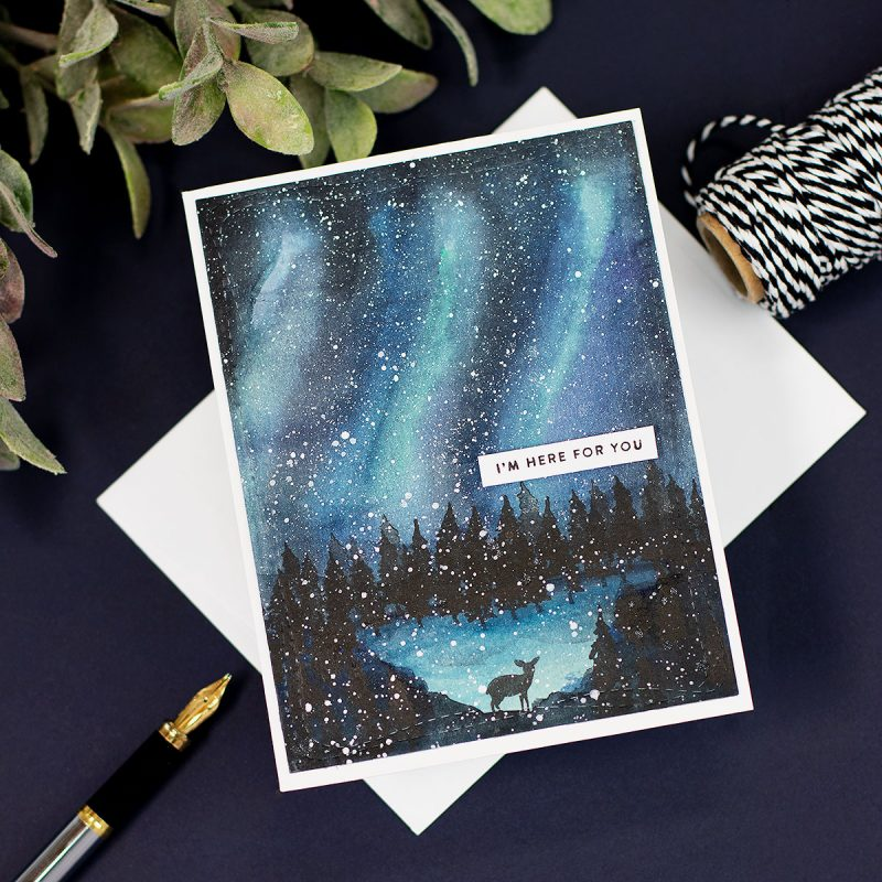 Northern Lights and Forest Scenery for Handmade Cards Watercolours or Distress Ink