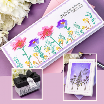 3 Ways Spellbinders Watercolor Florals Cards and Box