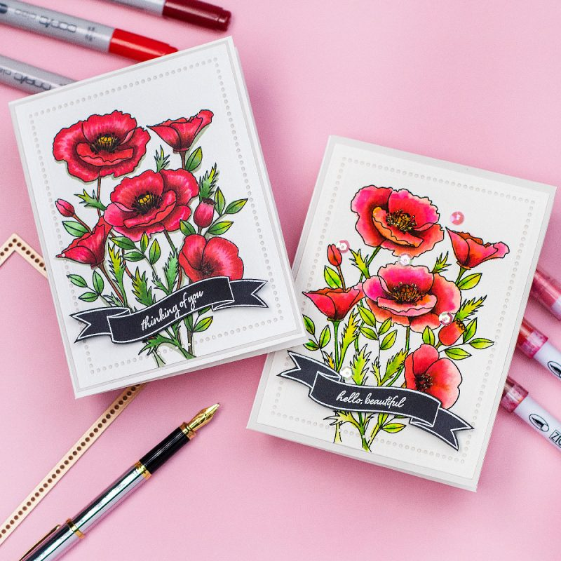 2 Ways Wild Poppies by My Favorite Things Copics and  Zigs Colouring