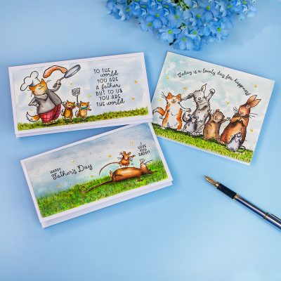 New Anita Jeram Release by CCC Blog Hop +Giveaway Father's Day Mini Slimline Cards