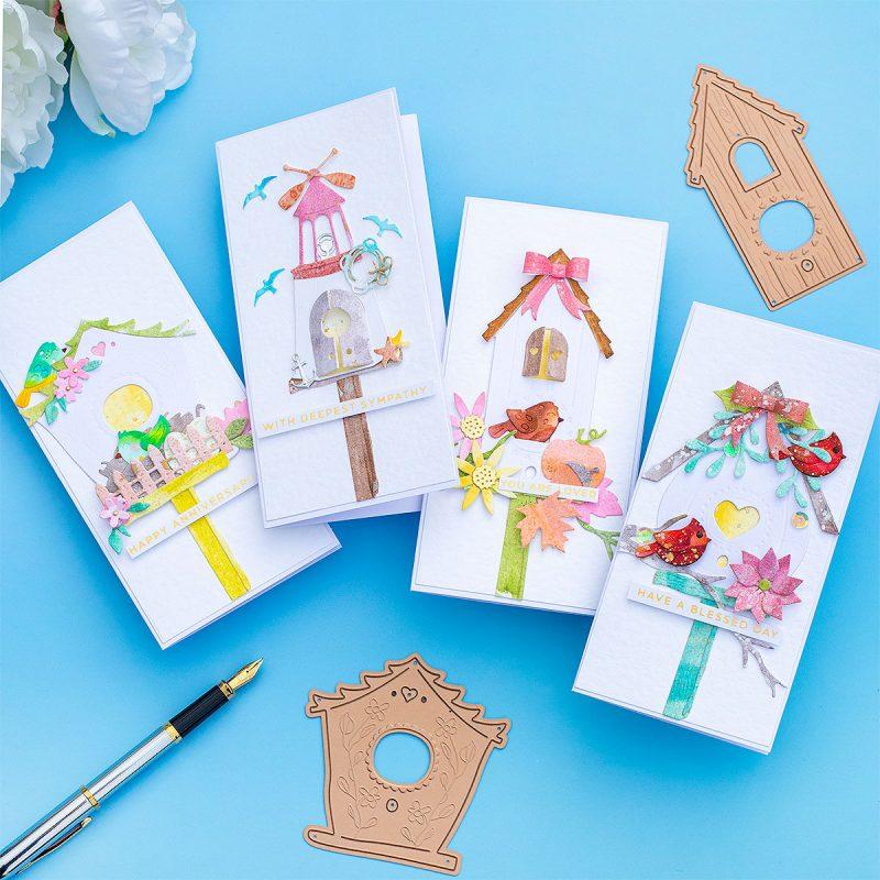 Spellbinders Birdhouses Through the Seasons Mini Slimline Cards
