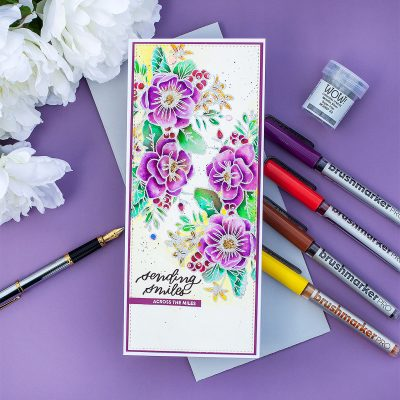 Slimline Watercolor Card with Friendly Flowers Stamp Set  by Simon Says Stamp