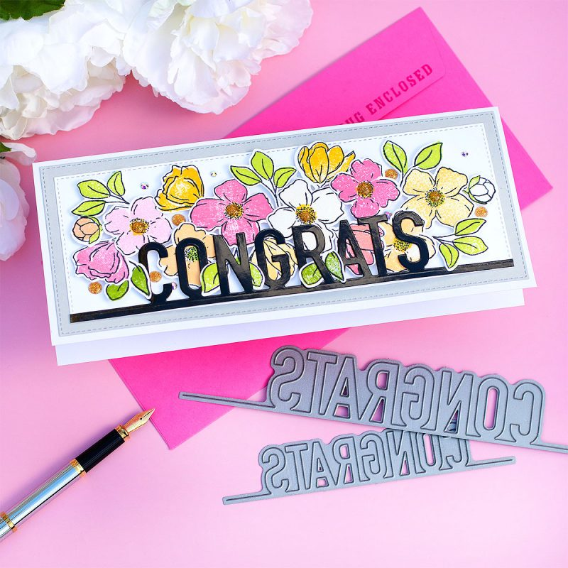 SSS Congrats on a Line Slimline Border Word Dies  + Blooming Meadow Stamp Set