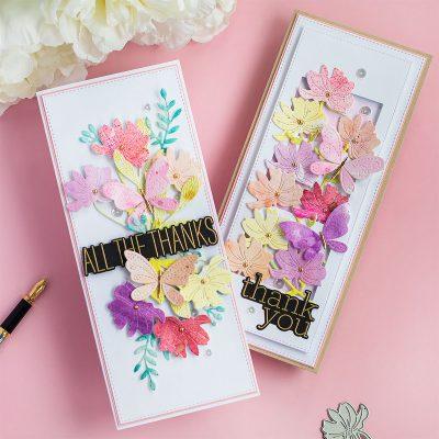 Slinmline Watercolor Die-Cut Poppy Steam and Stitching Butterflies