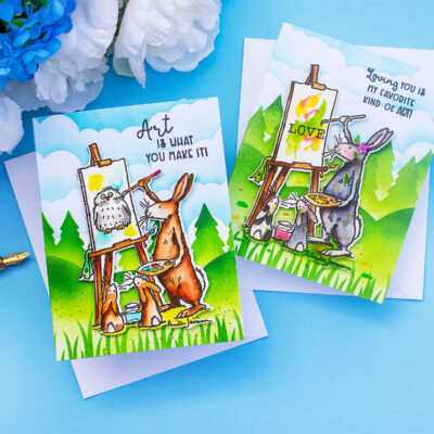 Art Is by Anita Jeram Distress Ink Stencilled Backgrounds