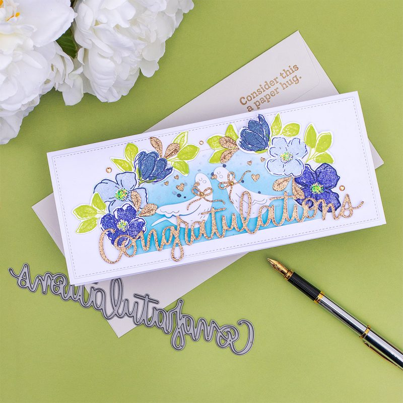 Congratulations Slimline Card SSS Doves + Blooming Meadow