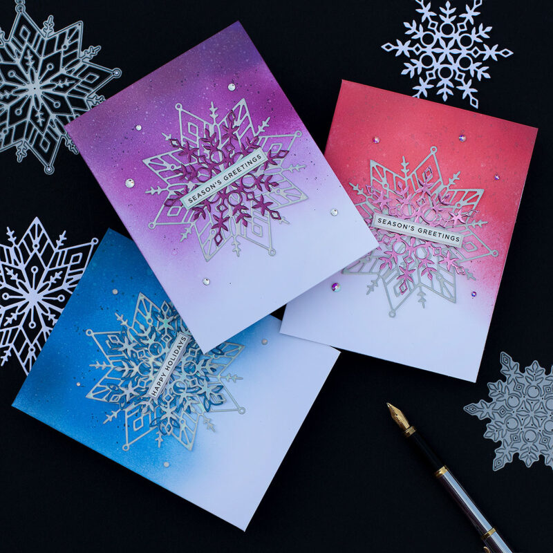 Easy and Quick Layered Snowflake Die-cut Xmas Cards