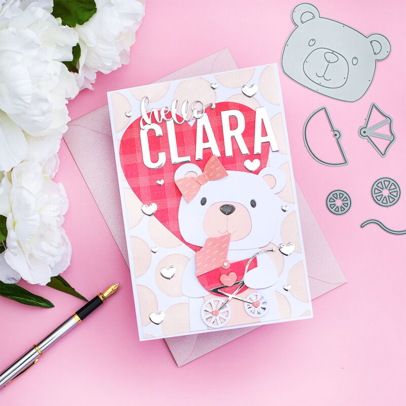 Huge Personalised Baby Card  SSS Big Picture Book Bear + Baby Stroller